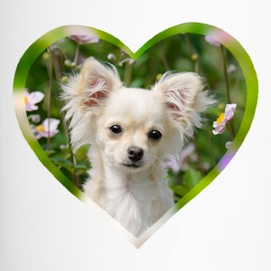 Chihuahua sweet puppy portrait with heart - Travel Mug