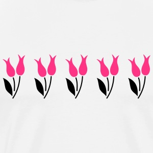 Tulips in a row - pink - Men's Premium T-Shirt