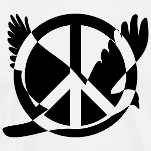 Peace symbol with dove - Men's Premium T-Shirt