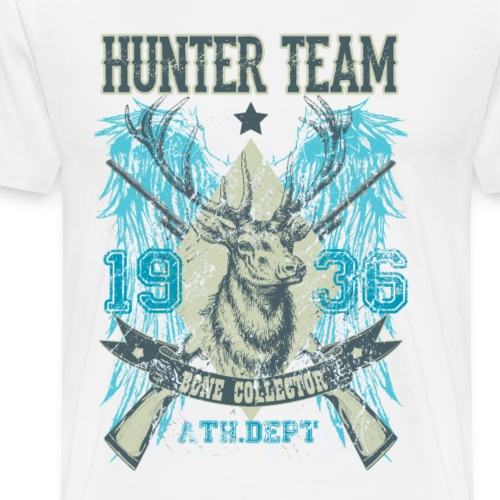HUNTER TEAM - Jäger Jagd Hirsch Geweih Geschenk - Männer Premium T-Shirt