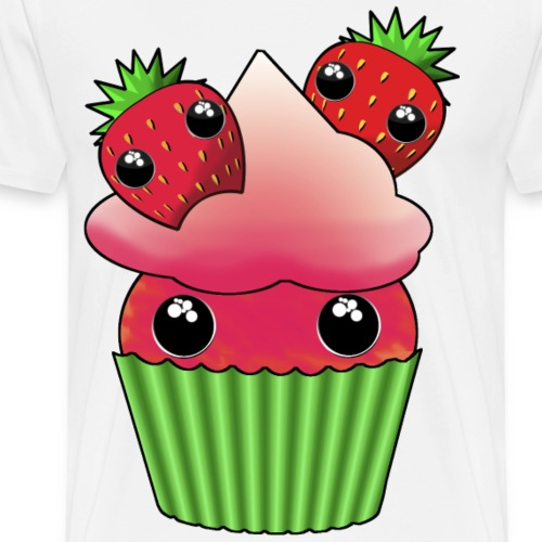 Cute strawberry kawaii cupcake - Premium-T-shirt herr