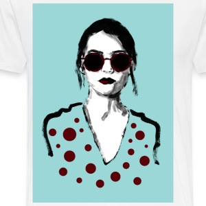 Woman with red glasses - Men's Premium T-Shirt