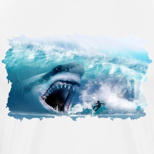 Megalodon Hai greift Surfer an! Urzeit Hai - Männer Premium T-Shirt