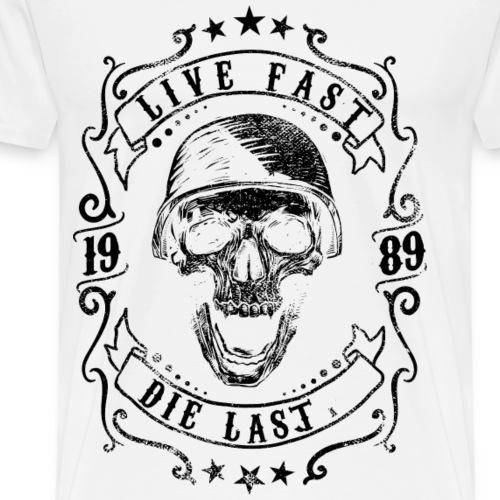 STERBE ZULETZT - Totenkopf Motorrad Geschenk Motiv - Männer Premium T-Shirt