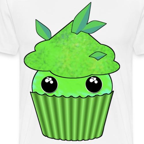 Green Kawaii Cupcake with mint or green tea leaf - Men's Premium T-Shirt