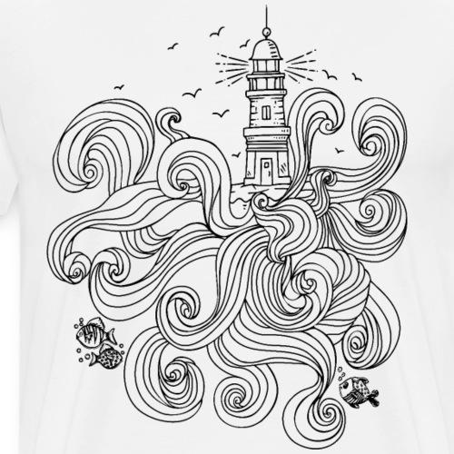 Leuchtturm mit wilden Wellen - Männer Premium T-Shirt