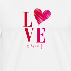 love is promise beautiful heart typo pink before - Men's Premium T-Shirt