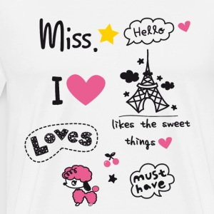badges_paris Little Girl Mlle coeur rose Ados sta - T-shirt Premium Homme