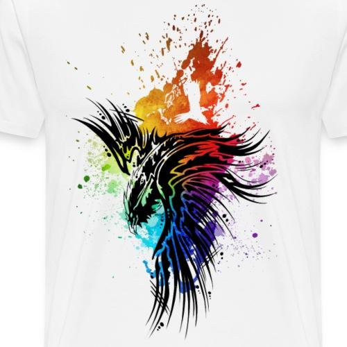 Rabe Regenbogen-Kleckse schwarz - Männer Premium T-Shirt