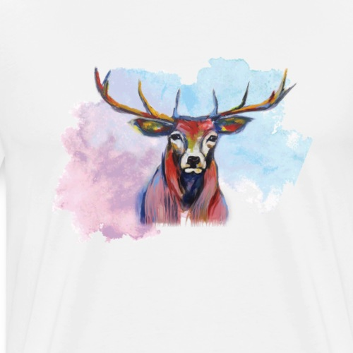 Ihre Majestät, der Hirsch, im Wolkenhimmel - Männer Premium T-Shirt