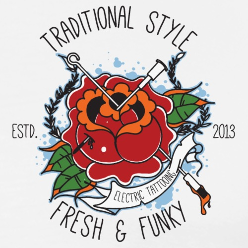 Traditional Tattoo Rose - Männer Premium T-Shirt