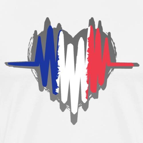 Frankreich Fußball Herz Puls - Männer Premium T-Shirt