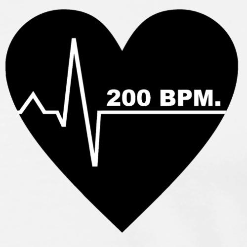 200 BPM UPTEMPO HEARTBEAT (black Design) - Männer Premium T-Shirt