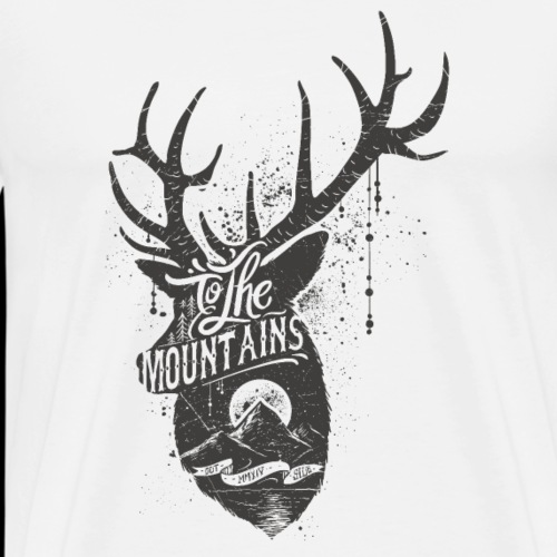 Hirsch Geweih Wildnis Berge - Männer Premium T-Shirt
