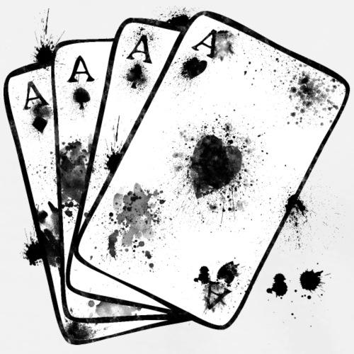 Asse Fächer mit Tinten flecken Ass Karten