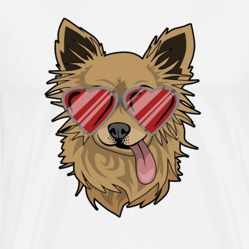 Hundeliebe süß mit Herzbrille und hängender Zunge - Männer Premium T-Shirt