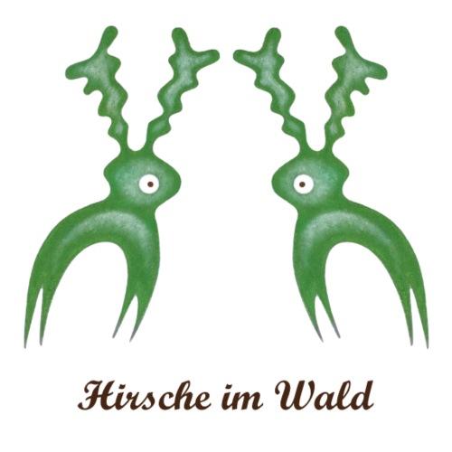 Hirsche im Wald Schrift 1 - dunkel - Männer Premium T-Shirt