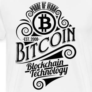 Bitcoin vuosikerta suunnittelu 03 - Miesten premium t-paita