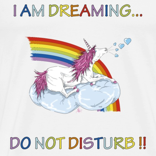 Licorne sur nuage Do not disturb !!- Multicolore - T-shirt Premium Homme