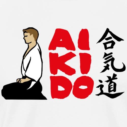 Aikido Seiza -fondo blanco- - Camiseta premium hombre