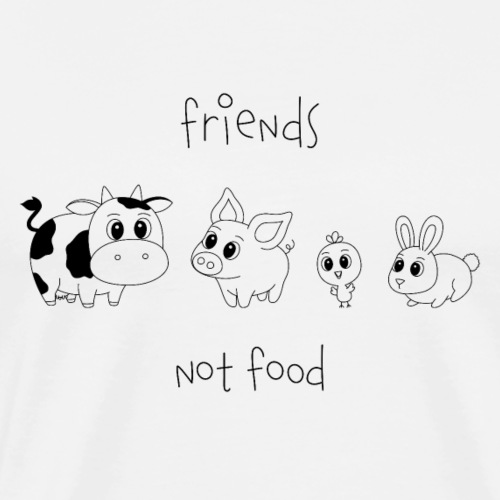 Friends, not food! (Schwarz) - Männer Premium T-Shirt