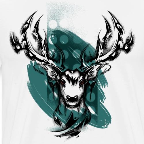Hirschkopf schwarz - Männer Premium T-Shirt
