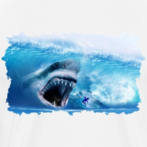 Megalodon greift Surfer in der Welle an!Urzeit Hai - Männer Premium T-Shirt