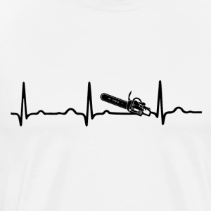EKG HEARTBEAT Chainsaw sort - Herre premium T-shirt
