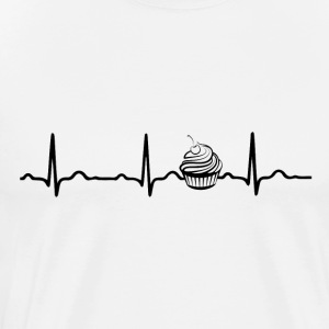 ECG HEARTBEAT CUPCAKE black - Men's Premium T-Shirt