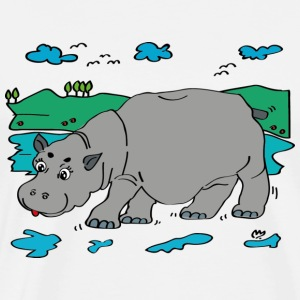 Illustration Hippo - Herre premium T-shirt