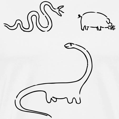 Schlange + Schwein = Dino - Männer Premium T-Shirt