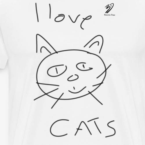 I love Cats (black) - Männer Premium T-Shirt