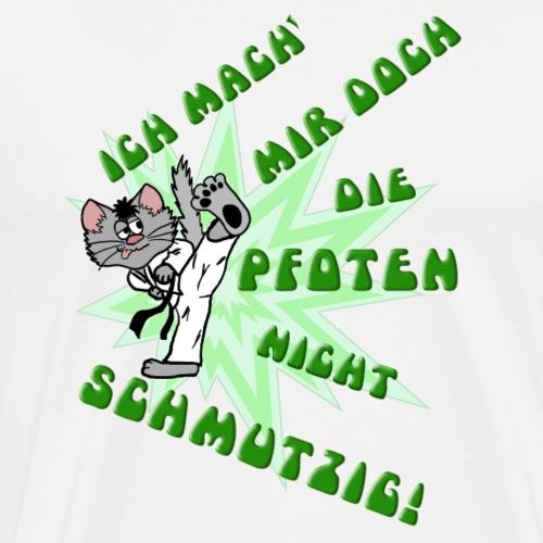 Karate Kater (grüne Schrift) - Männer Premium T-Shirt