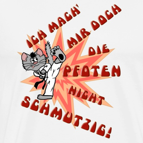 Karate Kater (rote Schrift) - Männer Premium T-Shirt