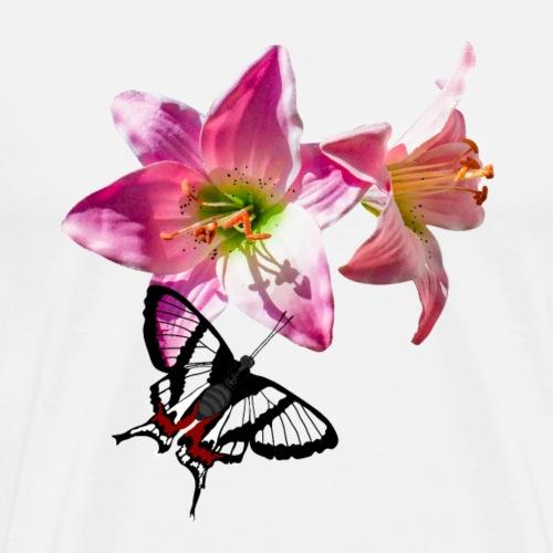 rosa lilien blume Schmetterling chorinea sylphina - Männer Premium T-Shirt