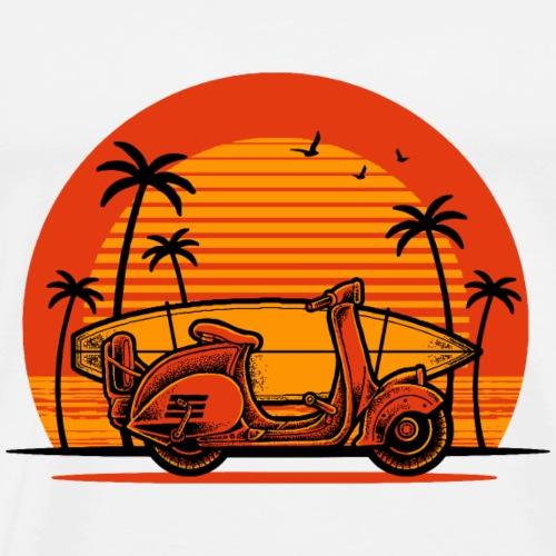 Roller mit Surfbrett (orange) - Männer Premium T-Shirt
