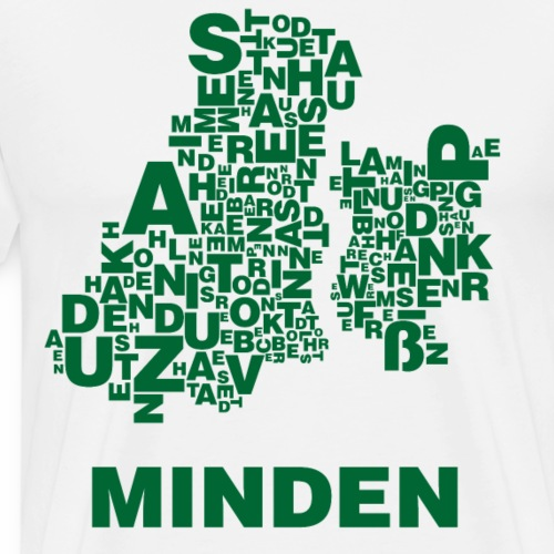 Minden Buchstabensalat Stadtplan (Weiß) - Männer Premium T-Shirt