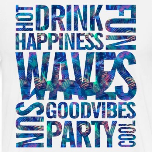 WAVES - Blue Tropical Pattern - Maglietta Premium da uomo