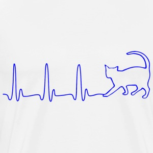 ECG HEART LINE CAT blue - Men's Premium T-Shirt