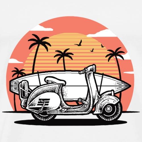 Roller mit Surfbrett (weiß) - Männer Premium T-Shirt