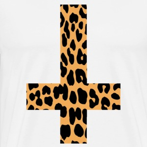Leopard Inverted Cross - Mannen Premium T-shirt