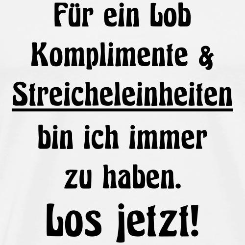 Lob Komplimente & Streicheleinheiten - Los jetzt! - Männer Premium T-Shirt