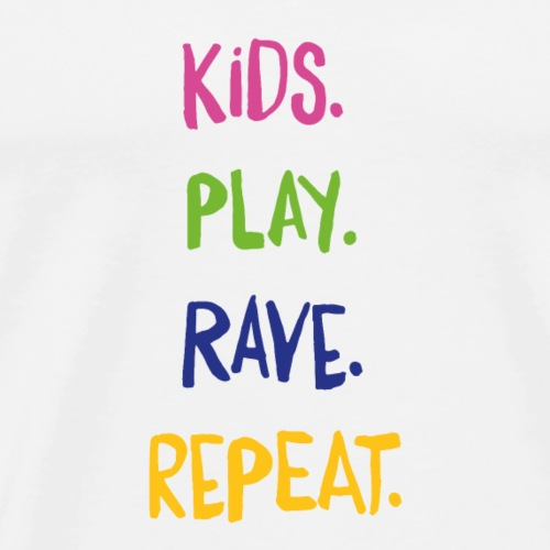 Kids.Play.Rave.Repeat. Column Rainbow - Men's Premium T-Shirt