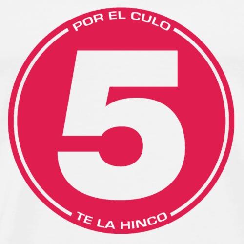 5 pectlh - rojo sobre gris - Camiseta premium hombre