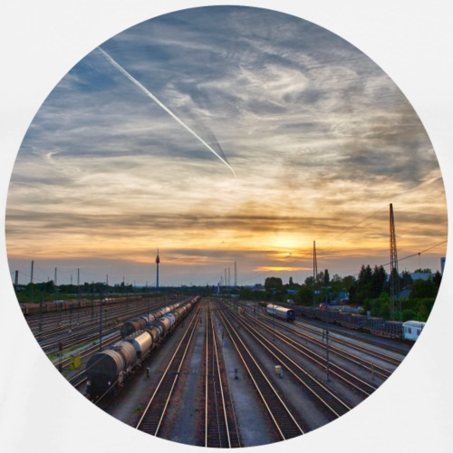 Nürnberg, Sonnenuntergang, Bahnhof, Fernsehturm - Männer Premium T-Shirt