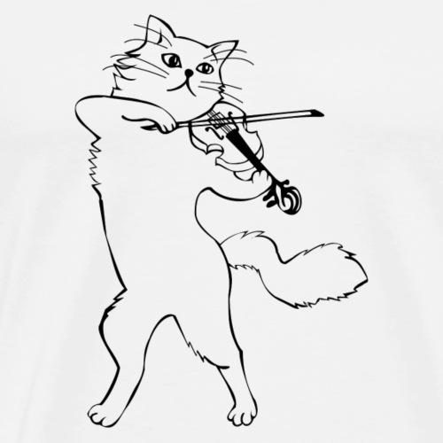 Katzen Violinist - Männer Premium T-Shirt