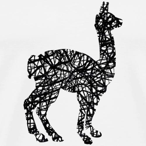 Lama Alpaka #1 Schwarz Geschenk Geschenkidee - Männer Premium T-Shirt
