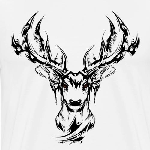 Hirschkopf simpel schwarz - Männer Premium T-Shirt