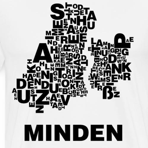 Minden Buchstabensalat Stadtplan (Schwarz) - Männer Premium T-Shirt