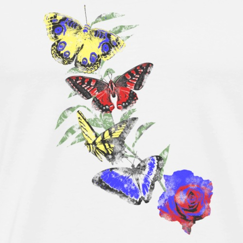 Flying Butterflies on Blue Red Rose